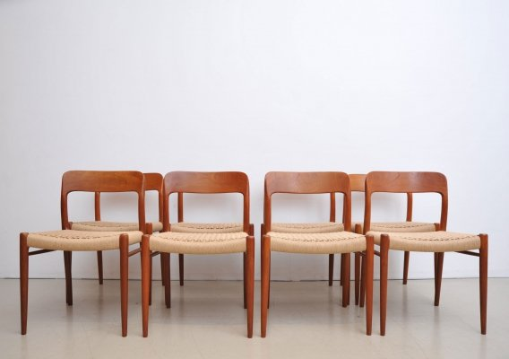 Set of 8 Model 75 dining chairs by Niels O. Møller for J L Møller, 1960s