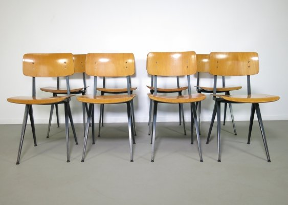 Set of 8 industrial school chairs by Marko