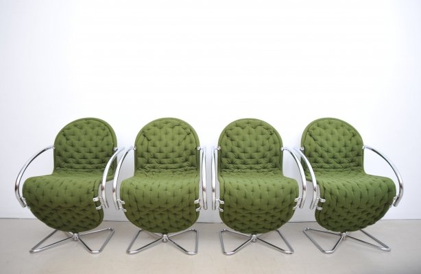Set of 4 System 1-2-3 arm chairs by Verner Panton for Fritz Hansen, 1980s