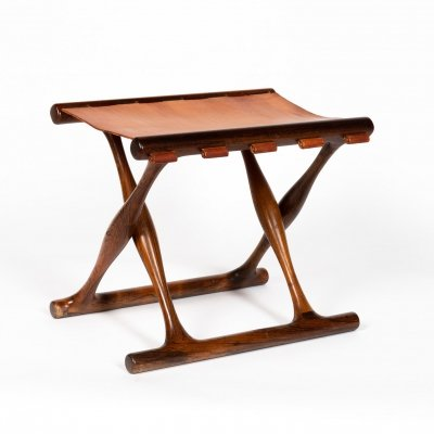 Classic Poul Hundevad stool in solid rosewood & original leather