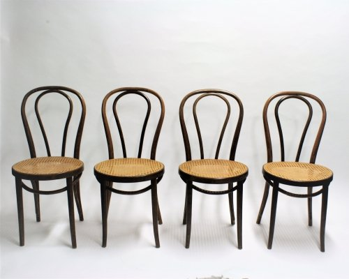 Set of 4 Thonet No. 18 Dining Chairs, 1950s