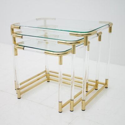 Nesting Tables in Brass, Glass & Lucite, 1970s