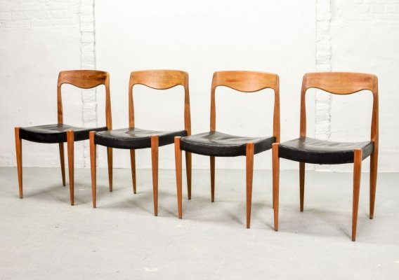 Set of 4 Scandinavian Black Leatherette Dining Chairs, 1950s
