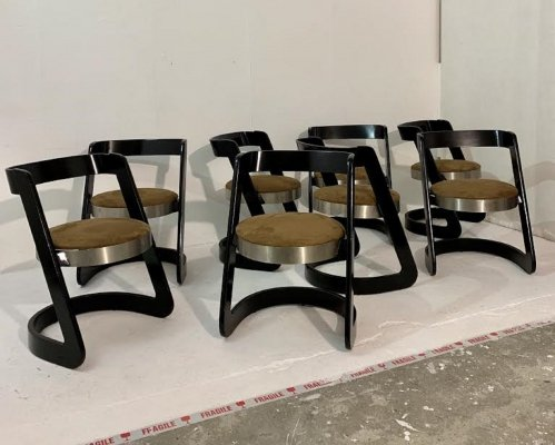 Set of 8 dining chairs by Willy Rizzo for Mario Sabot, Italy c.1960