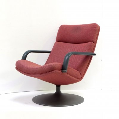 Vintage pink Artifort 'F142' arm chair / swivel chair
