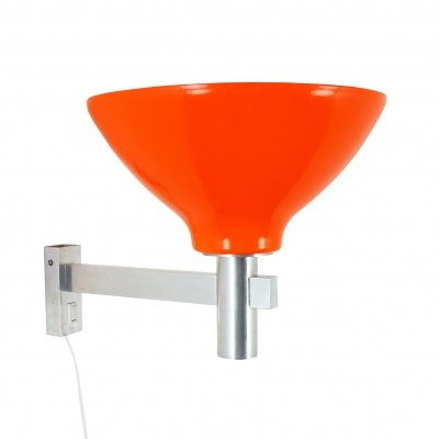 Large Orange acrylic & aluminium wall light, 1970s
