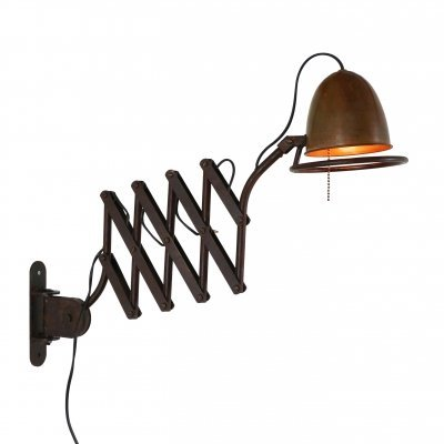 Heavy Industrial scissor wall light made of metal & copper, 1980s