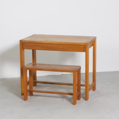 Solid Elmwood Desk with Stool by Pierre Chapo, France 1965