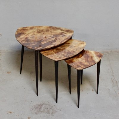 Set of 3 Aldo Tura goat skin nesting tables