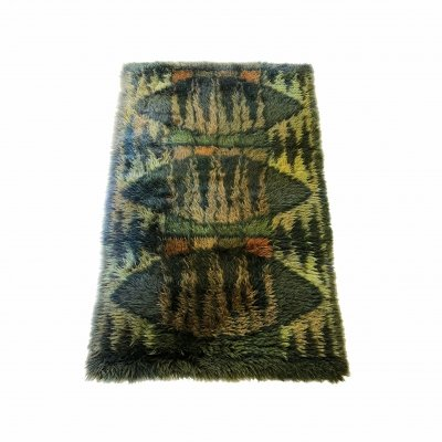 Original Abstract Scandinavian High Pile Abstract Rya Rug Carpet, Sweden 1960s