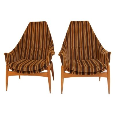 Pair of armchairs by Júlia Gaubek, Hungary c.1970
