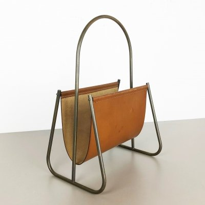 1950s Brass & Leather Magazine Holder Model 4019 by Carl Auböck, Austria