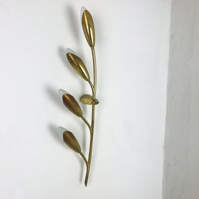 Extra Large Modernist 60cm Brass Floral Theatre Wall Light Sconces, France 1950