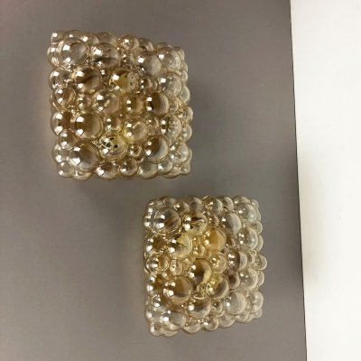 Set of Two XXL Glass Wall Lights Sconces by Helena Tynell for Glashütte Limburg