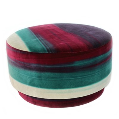 Italian decorative Multicolored velvet Pouf from a Gucci shop, 1970s
