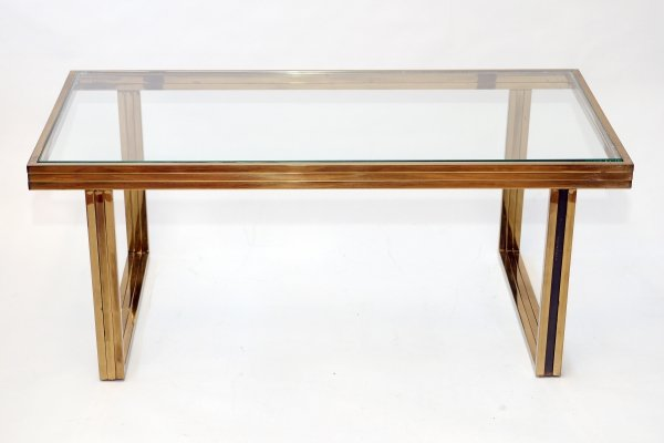 Brass coffee table by Romeo Rega, 1970s