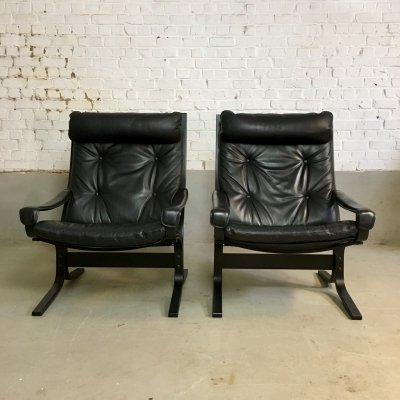 Black leather 'Siesta' chair by Ingmar Relling for Westnofa, 1970s