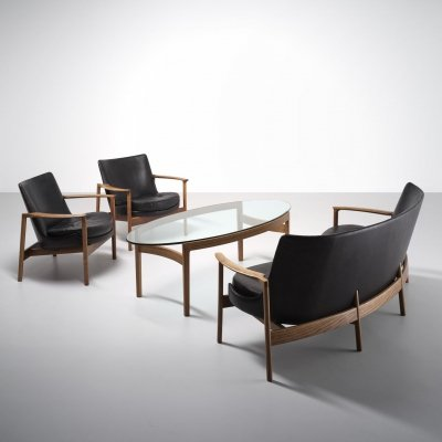 Rare seating group with coffee table by Ib Kofod Larsen, 1970s
