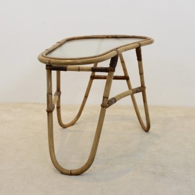 Wicker Glass Side Table for Rohé Noordwolde, Netherlands