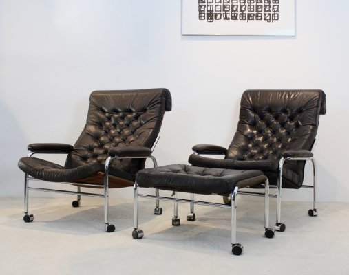 Rare pair of Noboru Nakamura 'Bore' Leather Lounge Chairs with Footstool, 1970s