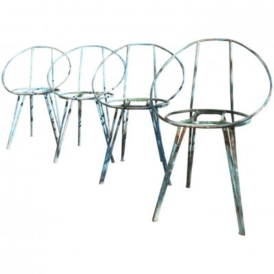 Set Of 4 Metal Garden Chairs, 1950s