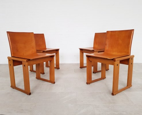 Set of 4 cognac leather dining chairs by Afra & Tobia Scarpa for Molteni, 1970s