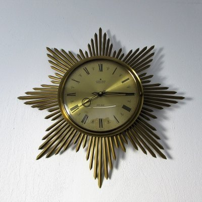 Brass Sunburst Junghans Wall Clock, 1960's