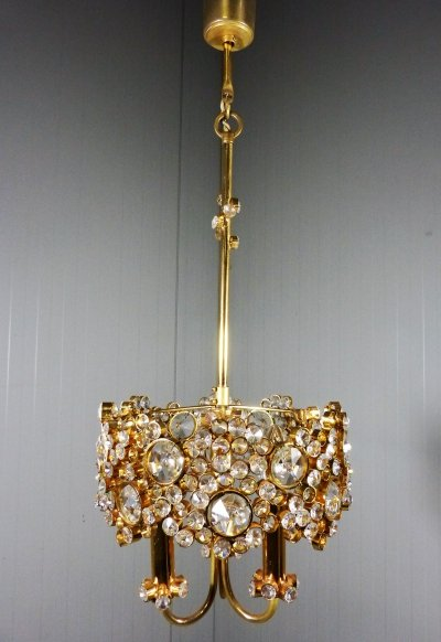 Small Gilded Brass & Crystal Palwa Chandelier