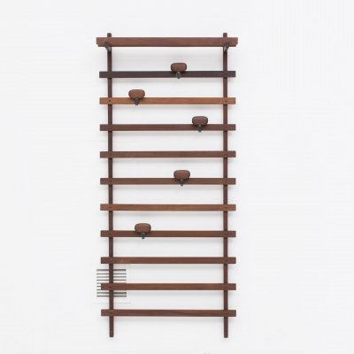 Coat Rack with dark brown wooden frame, horizontal bars & black metal hooks