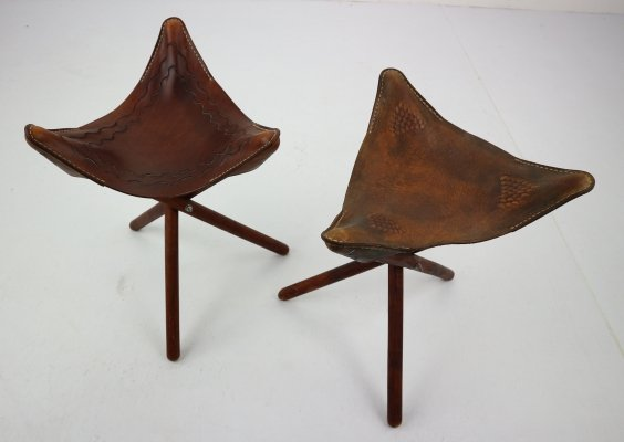 Set of 2 Vintage Mexican Tooled Leather Tripod Saddle Stools, 1940s