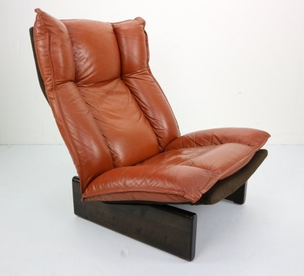 Dutch Modern Design Cognac Leather & Wood Lounge Chair, 1970s