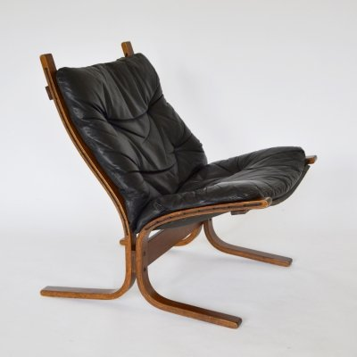 Black Leather Siesta Chair by Ingmar Relling for Westnofa, 1968