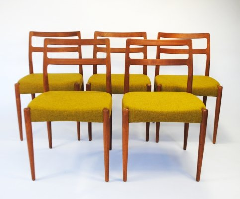 Set of 5 Model Anne dining chairs by Johannes Andersen for Uldum Møbelfabrik, 1960s