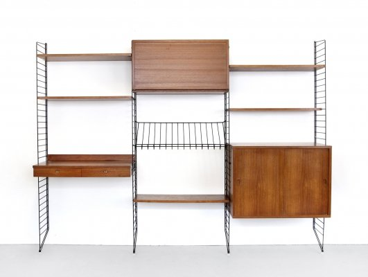 String wall unit by Nisse Strinning & Kajsa Strinning for String Design AB, 1960s
