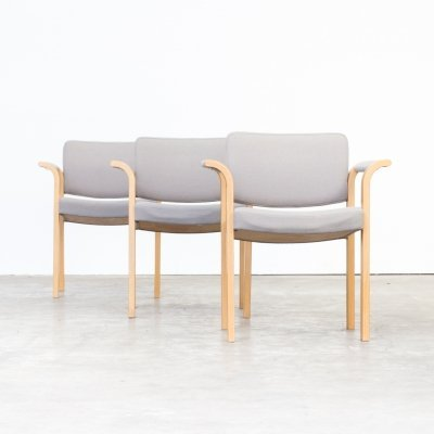 Set of 3 Rud Thygesen & Johnny Sørensen arm dining chairs for Magnus Olesen, 1960s