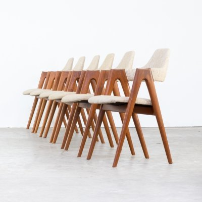Set of 6 Kai Kristiansen 'Compass' Chairs for SVA Møbler, 1960s