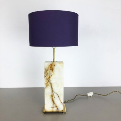 Vintage Hollywood Regency Onyx Marble Base Table Light, Italy 1960s