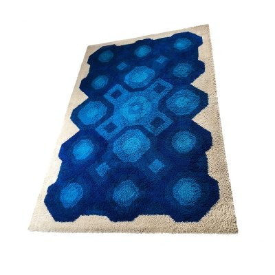 Xxl Vintage 1970s Modernist High Pile Op Art Carpet Rug, Germany 1970s