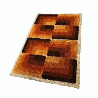 Large Vintage 'Cubic' Multi-Color High Pile Rug by Desso, Netherlands 1970s