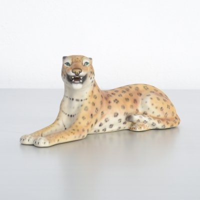Small Porcelain Leopard Sculpture by Alano, Italy 1970s