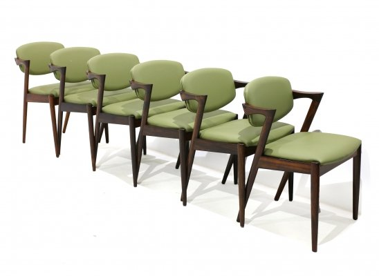 Set of 6 Model 42 Chairs by Kai Kristiansen for Schou Andersen, 1960s
