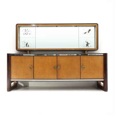 Italian mid-century sideboard with mirror, 1950s