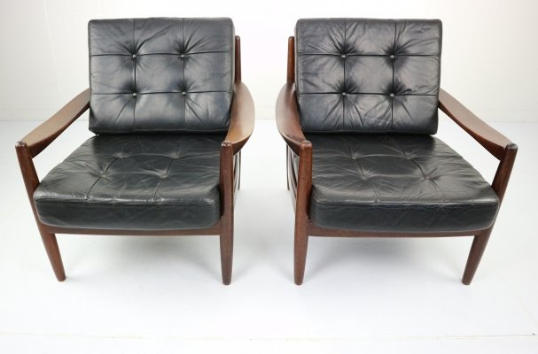 Set of Two Black Leather Armchairs, 1960s
