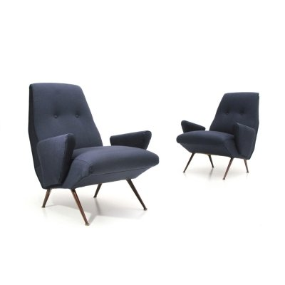 Pair of Blue 'Derby' armchairs by Letterio Mangano for Framar, 1950s