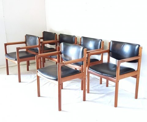 Set of 6 Danish armchairs in Teak & leather, Denmark 1960s