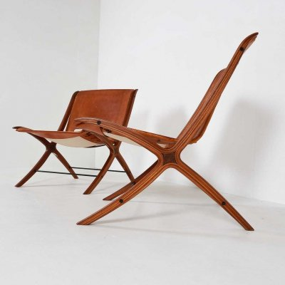 2 x model 6135 lounge chair by Peter Hvidt & Orla Mølgaard Nielsen for Fritz Hansen, 1950s