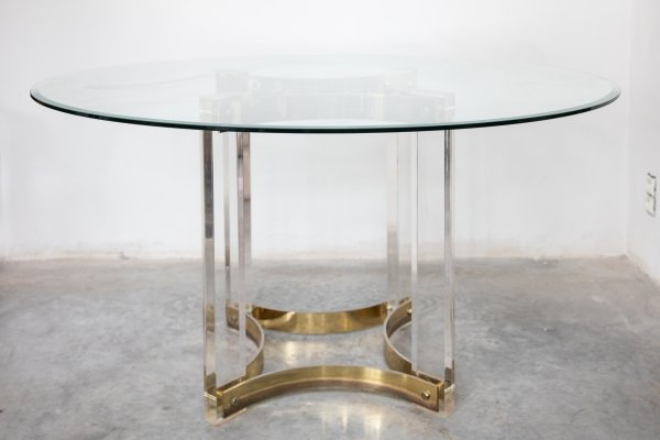 Brass 1970's Round Dining Table by Belgo Chrome