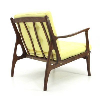 Italian mid-century armchair with yellow cushions, 1950s