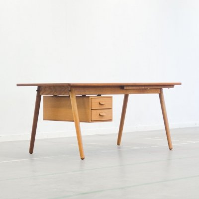 Rare extendable teak & oak writing desk by Poul M. Volther, 1957