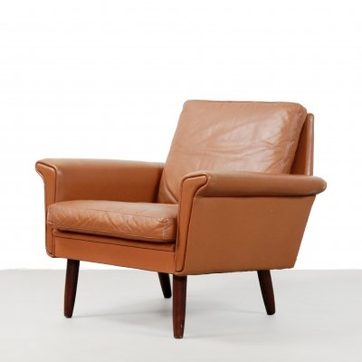 Brown cognac leather armchair, Denmark 1960s
